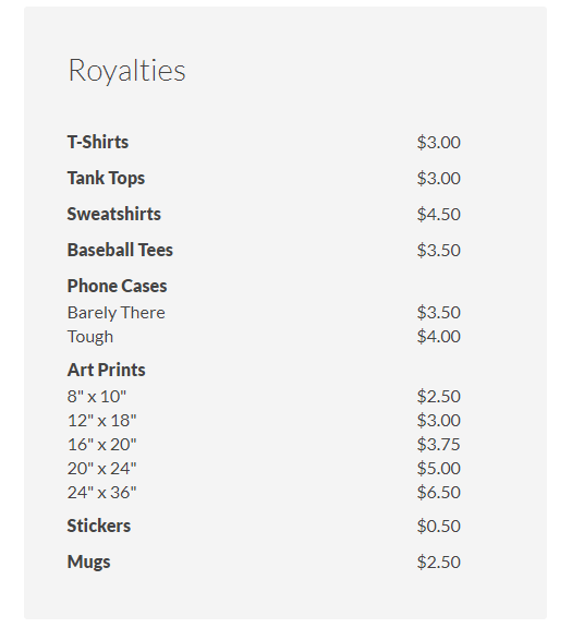 design by humans pricing table