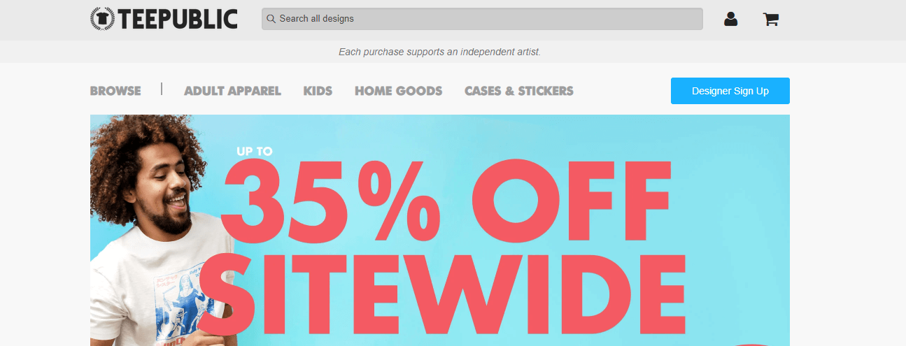 Teepublic print on demand screenshot