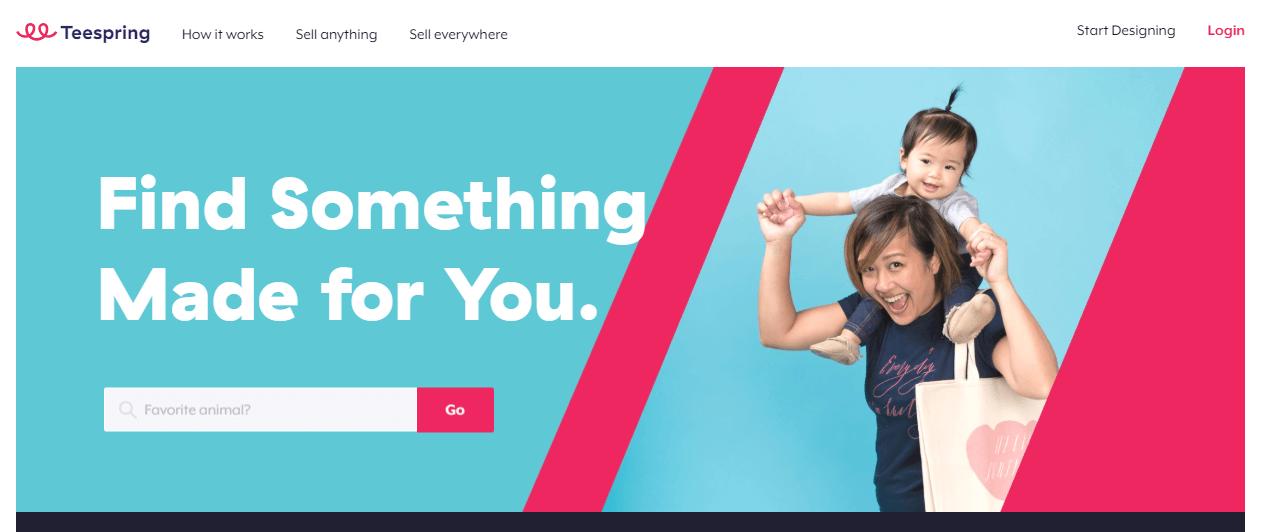 Teespring print on demand screenshot