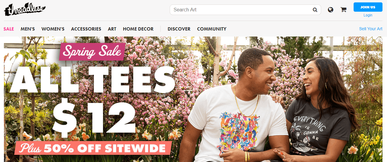 Threadless print on demand screenshot