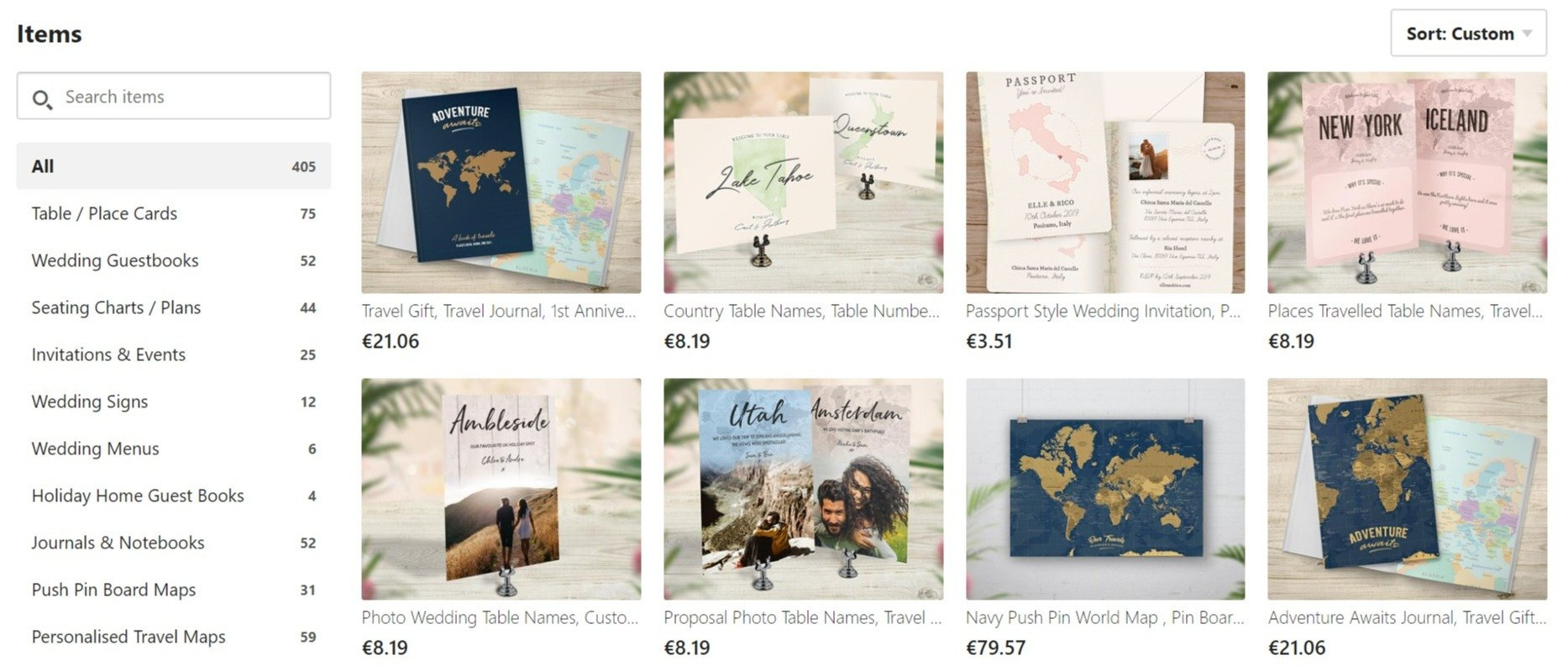 Screenshot of Travel Themed Wedding Stationery & by NoOrdinaryEmporium on Etsy (1)