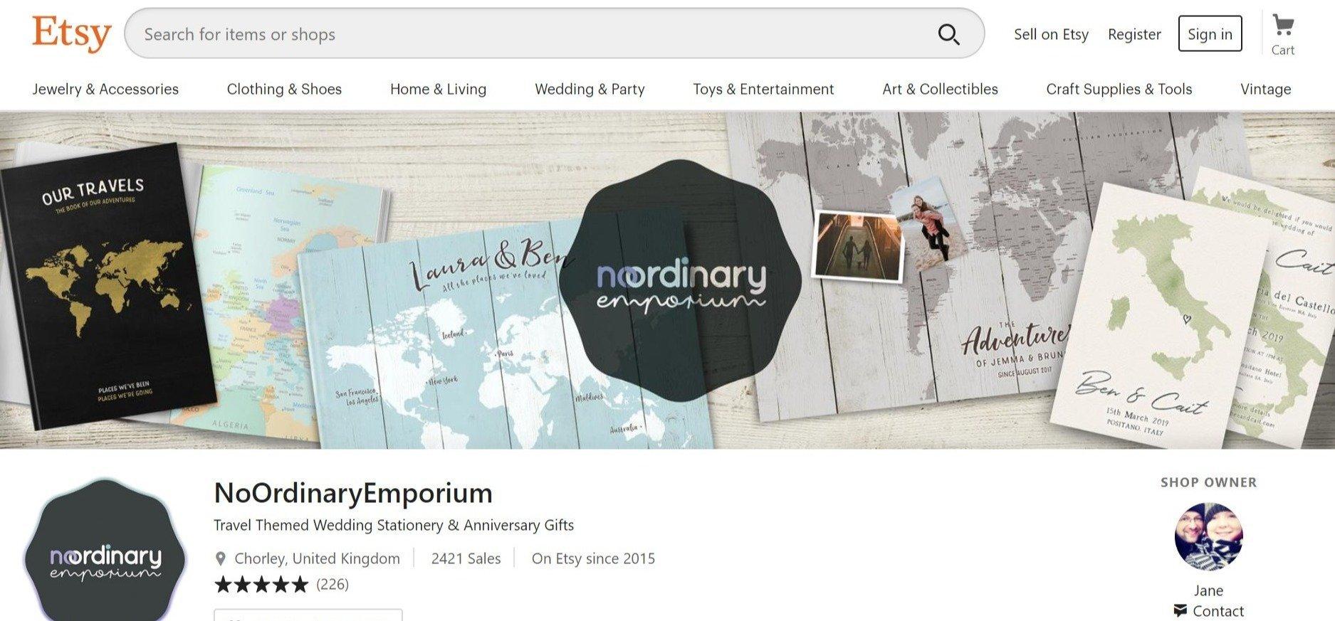 Screenshot of Travel Themed Wedding Stationery & by NoOrdinaryEmporium on Etsy