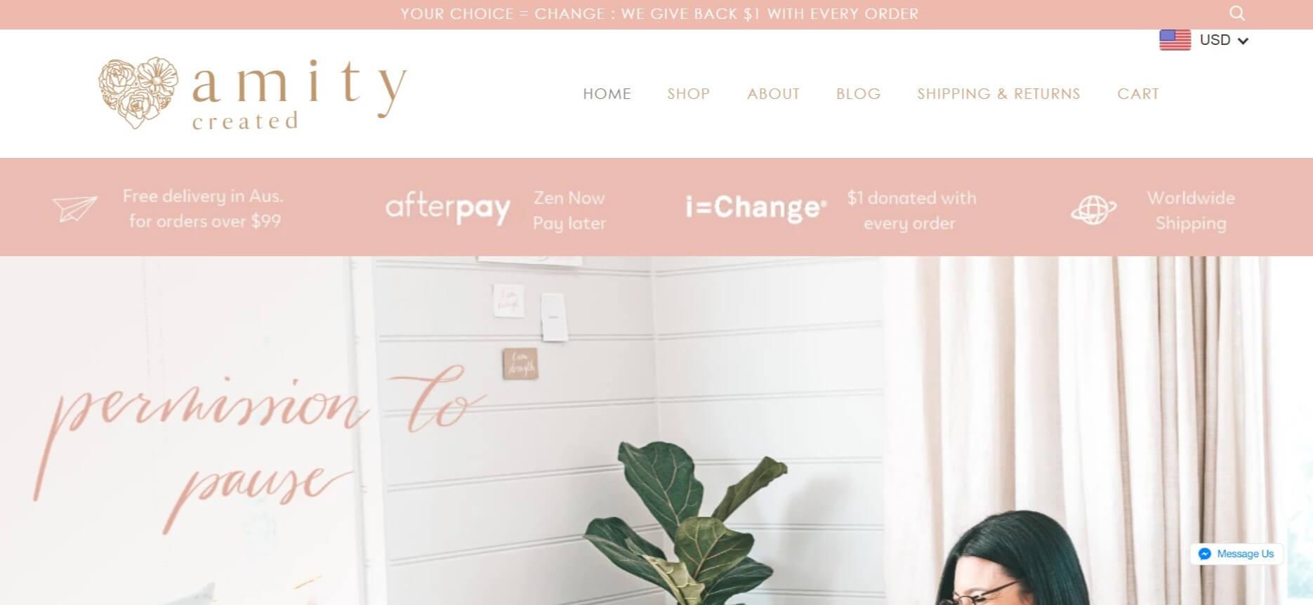 Amity Created homepage