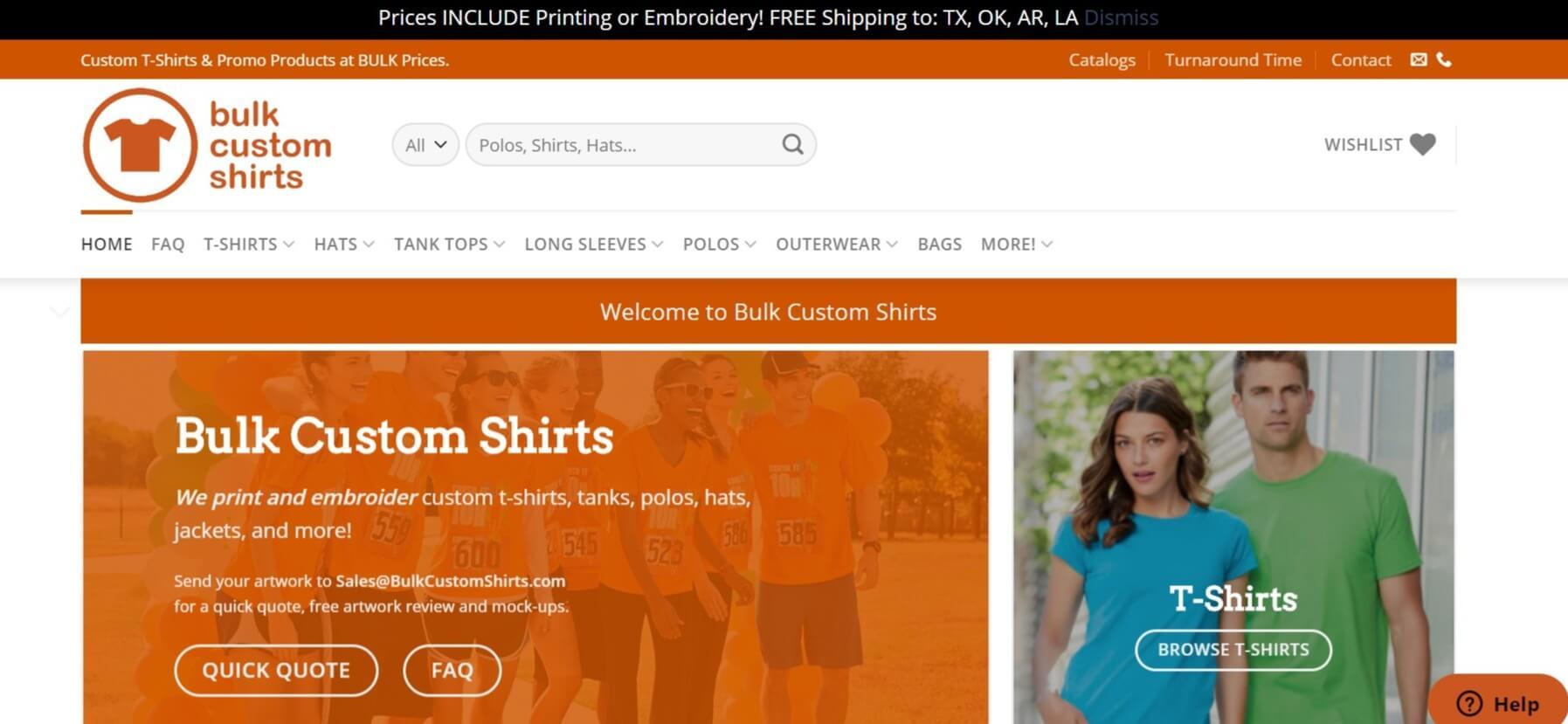 Bulk Custom Shirts homepage