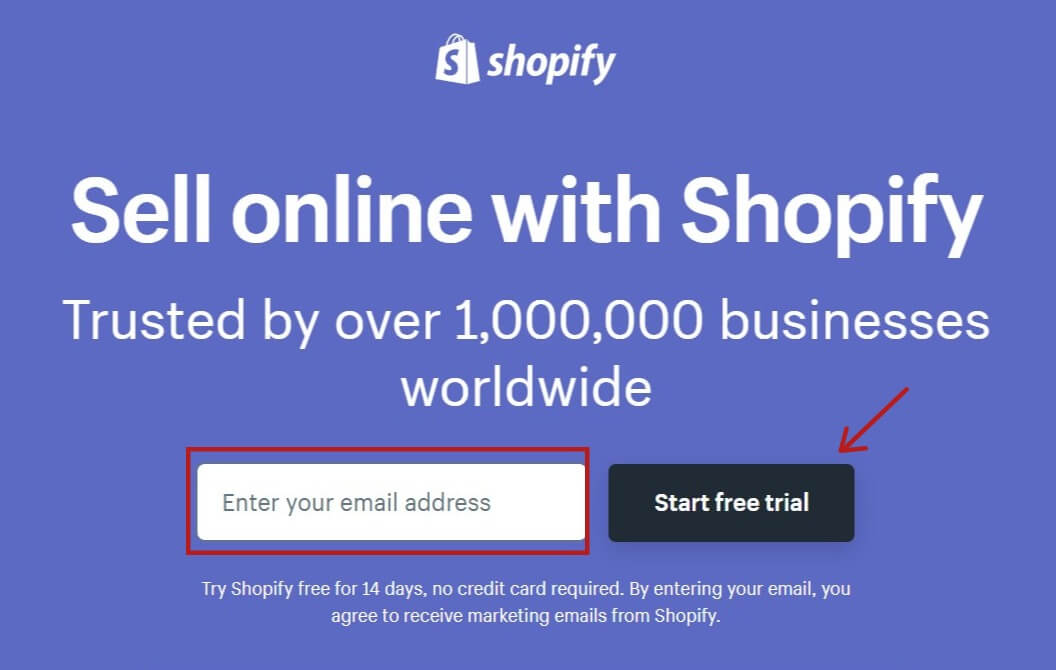 Shopify free trial page
