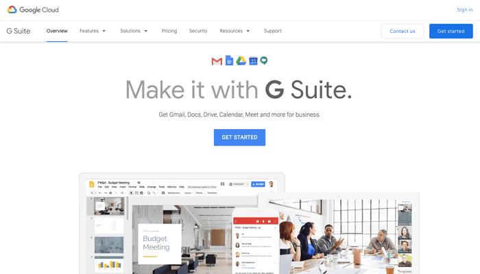 G-suite homepage screenshot