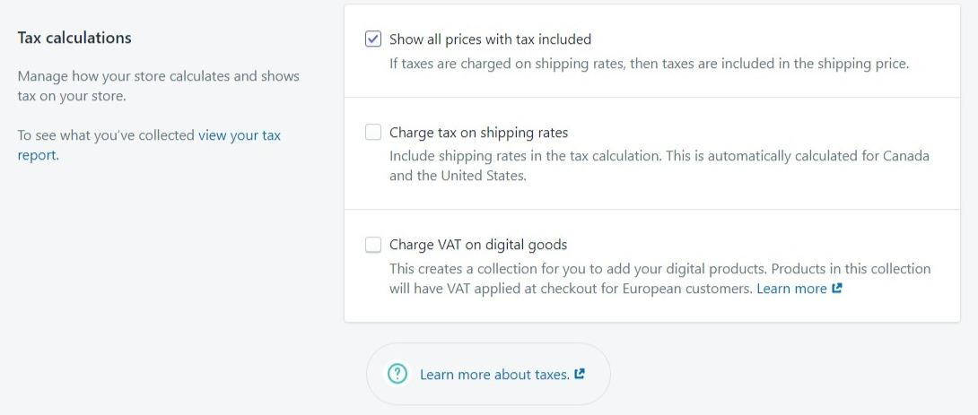 Tax calculations on Shopify