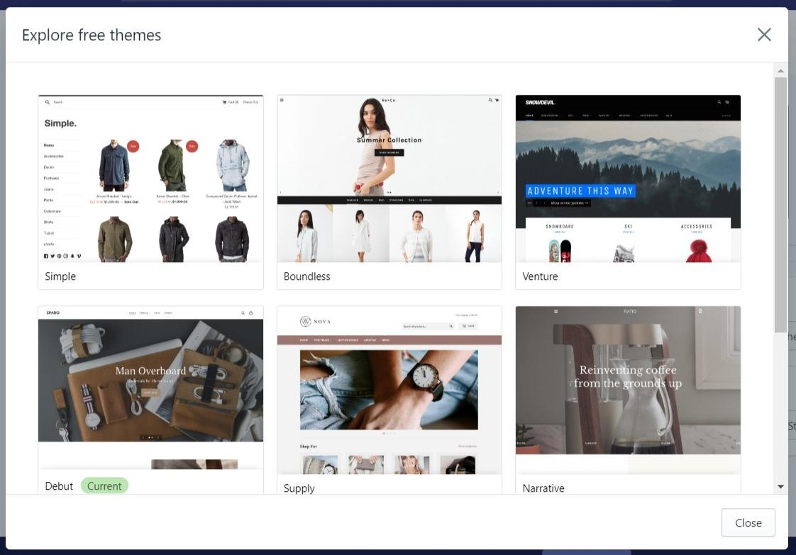 Image of Free themes on Shopify
