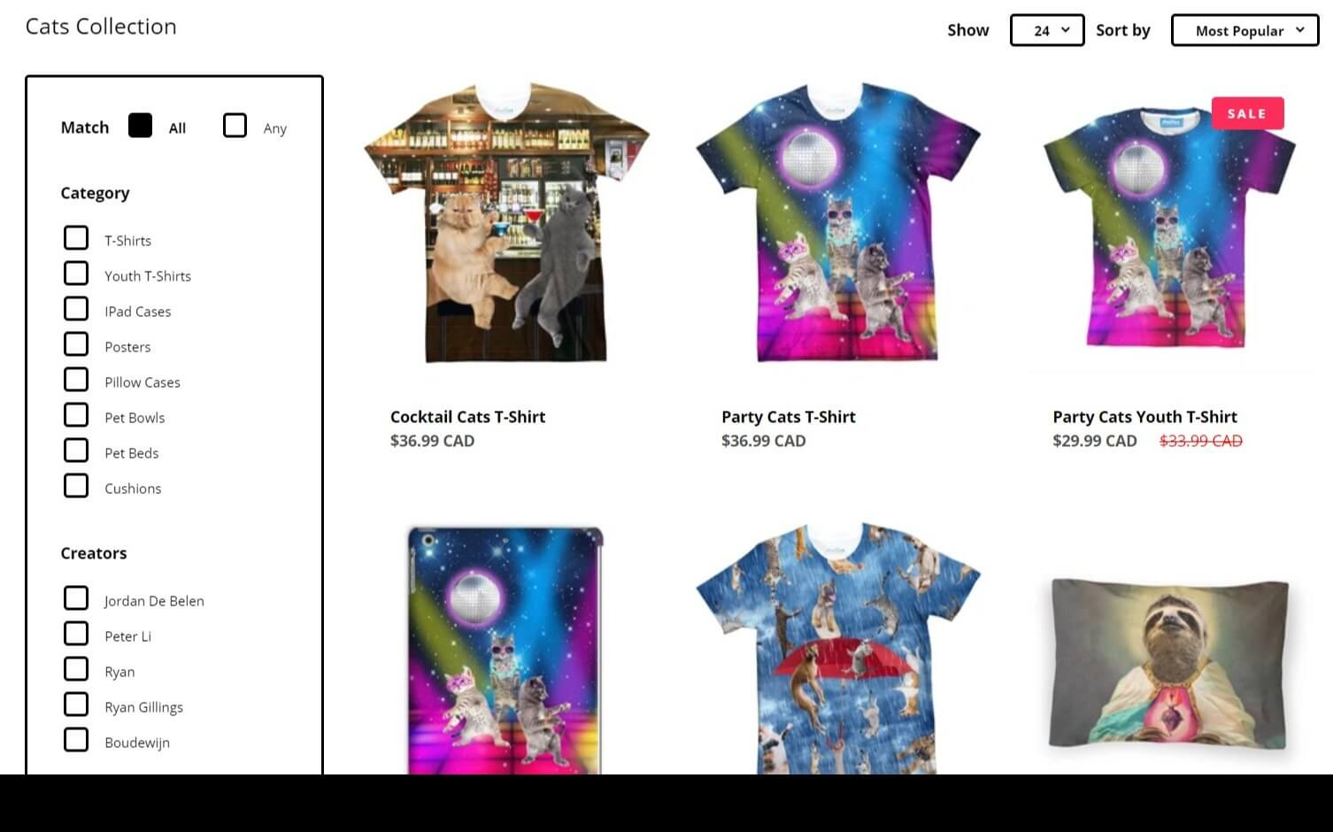 t-shirt store example image