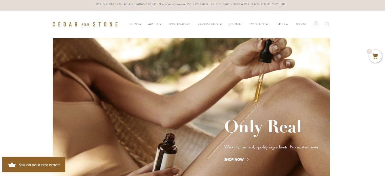 Cedar and Stone homepage screenshot