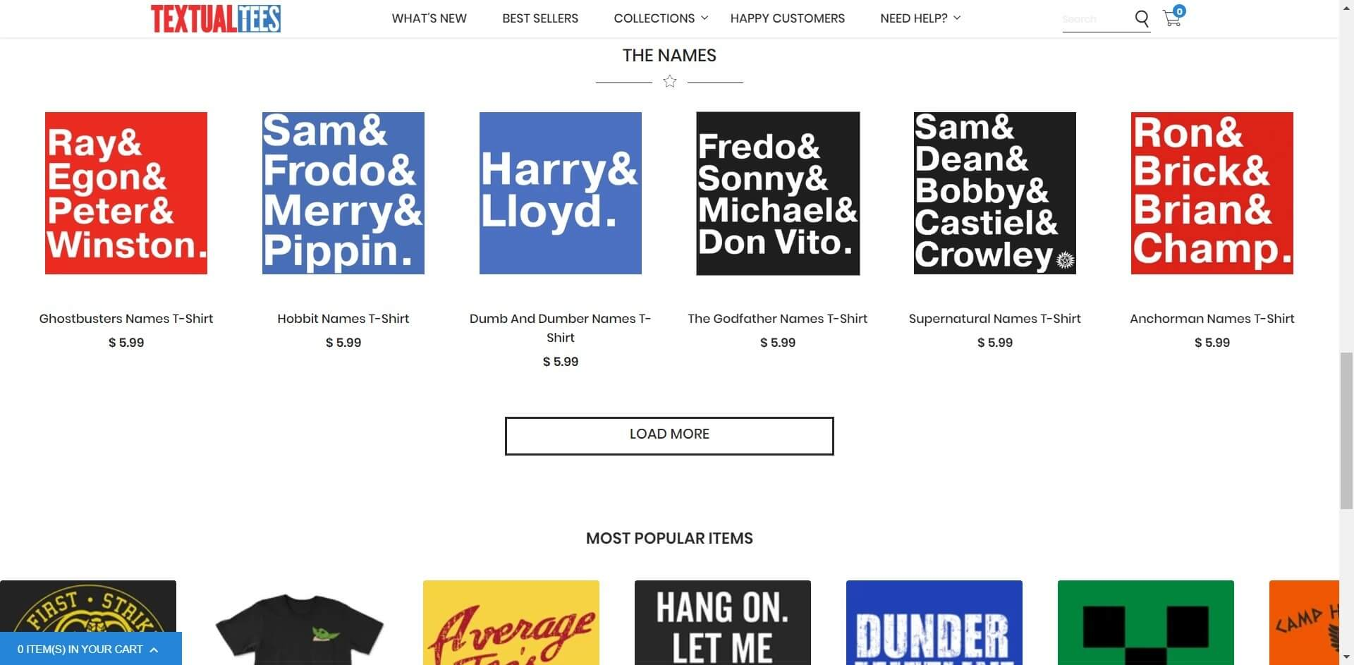 Shopify t-shirt store example image