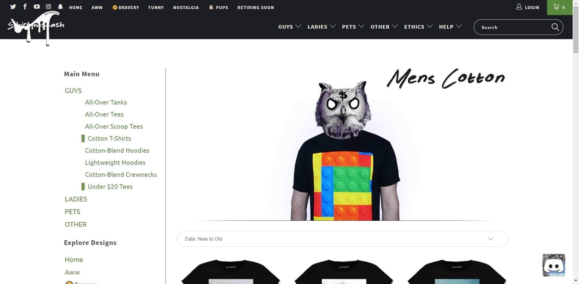 Screenshot of Mens Cotton Tees _ Funny Internet Meme Shirts _ Funny T-Shirts - Shirtwascash (1)