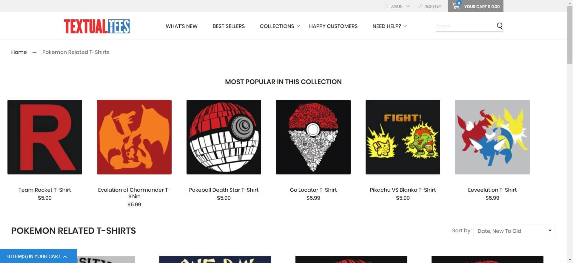 Screenshot of Pokemon Related T-Shirts Video Game Apparel _ Textual Tees (1)