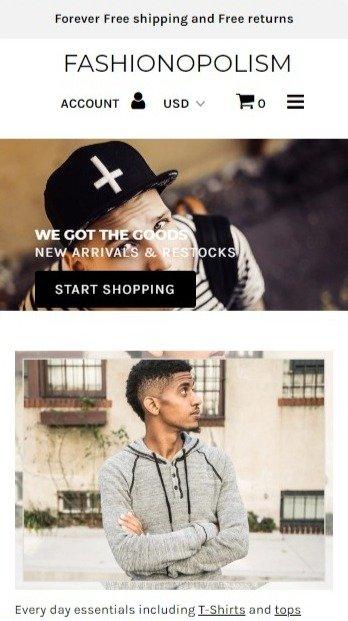 Fashionopolism mobile shopify theme image