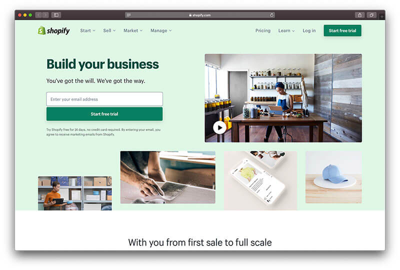Shopify homepage screenshot