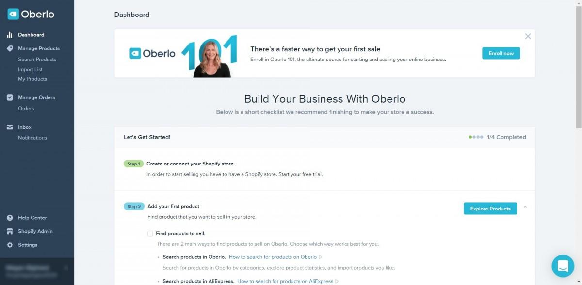 Oberlo dashboard and setup image
