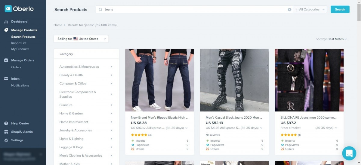 Searching for products with Oberlo