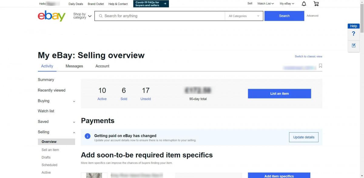 Ebay sellers page