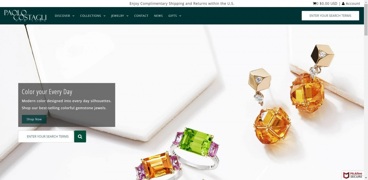 Paolo Costagli Shopify jewelry store