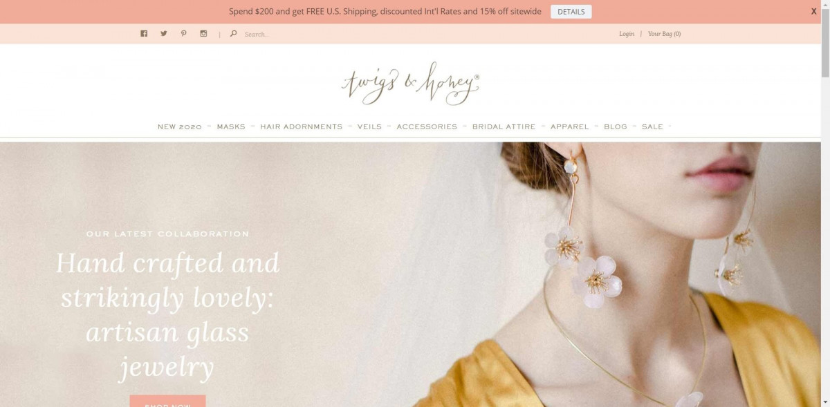 Twigs and Honey Shopify jewelry store