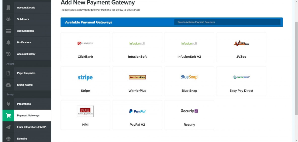 Clickfunnels payment gateways imge